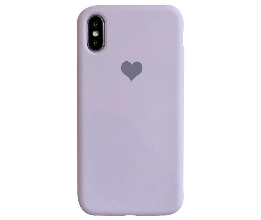 紫色爱心苹果X手机壳iphone xs max女6s纯色液态硅胶7 8plus情侣