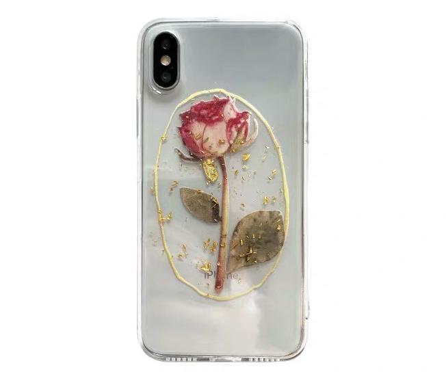 金箔透明玫瑰花8plus苹果x手机壳XS Max/XR/iPhoneX/7个性6s女款